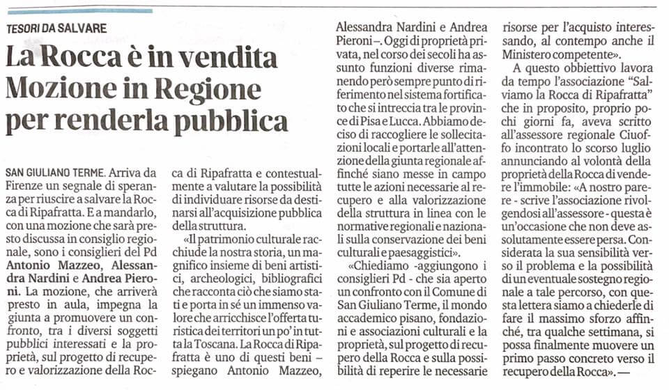 Articolo De Il Tirreno Pisa sulla mozione per la Rocca di Ripafratta